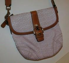 Coach Purple Signature Tan Leather Cross Body Bag - $35.00