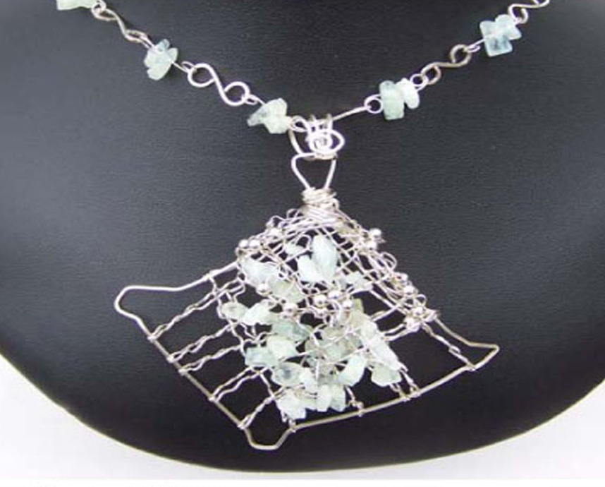 Jewelry By Two Gems (Wn45) Sterling Silver Aqua Marine Necklace
