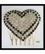 Wedding Comb Black and Clear Crystal Rhinestones - $9.25