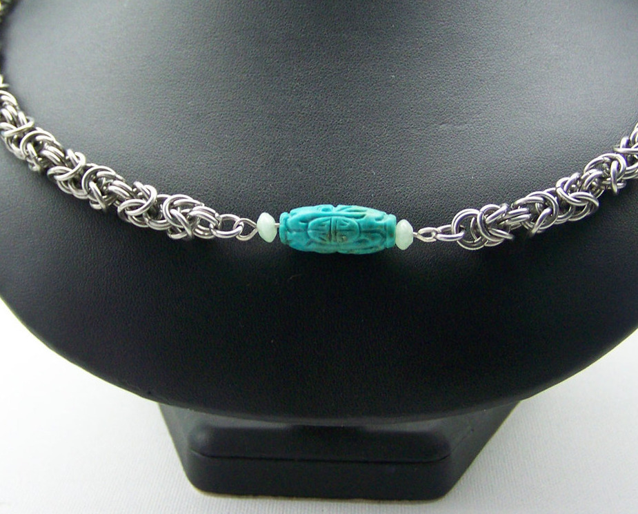 Jewelry By Two Gems (C56) Stainless Steel Chainmaille in Byzantine w Turquoise