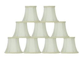 Urbanest Set of 9 Eggshell with Lace Trim Silk Bell Chandelier Lamp Shade, 3-inc - $49.49