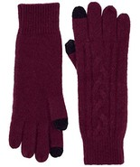 Cashmere & Spun Cashmere combined women's cable knit glove (Burgendy) - $34.50