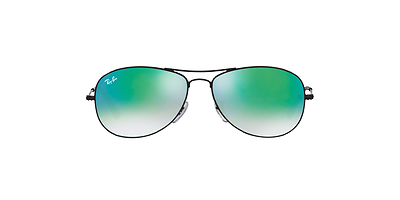 Ray Ban RB3362 002/4J Cockpit Sunglasses 59mm Black Frames Green Mirrored Lens