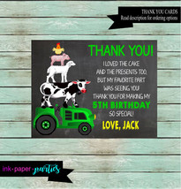 Farm Animals Green Tractor Cow Pig Chicken Birthday Party Thank You Note... - $1.10