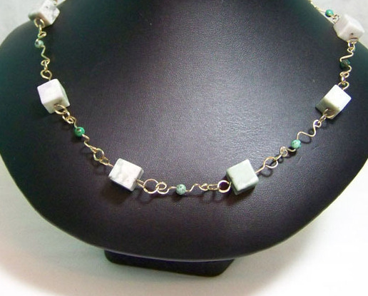 Jewelry By Two Gems (Wn28) 14kGF Wire Wrap Necklace w peace jade and Turquoise b
