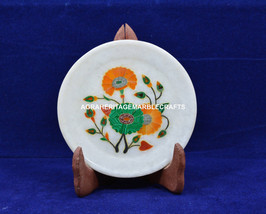 "5"" Marble Round Serving Plate Hakik Inlay Stones Floral Arts Kitchen Dec... - $70.09"