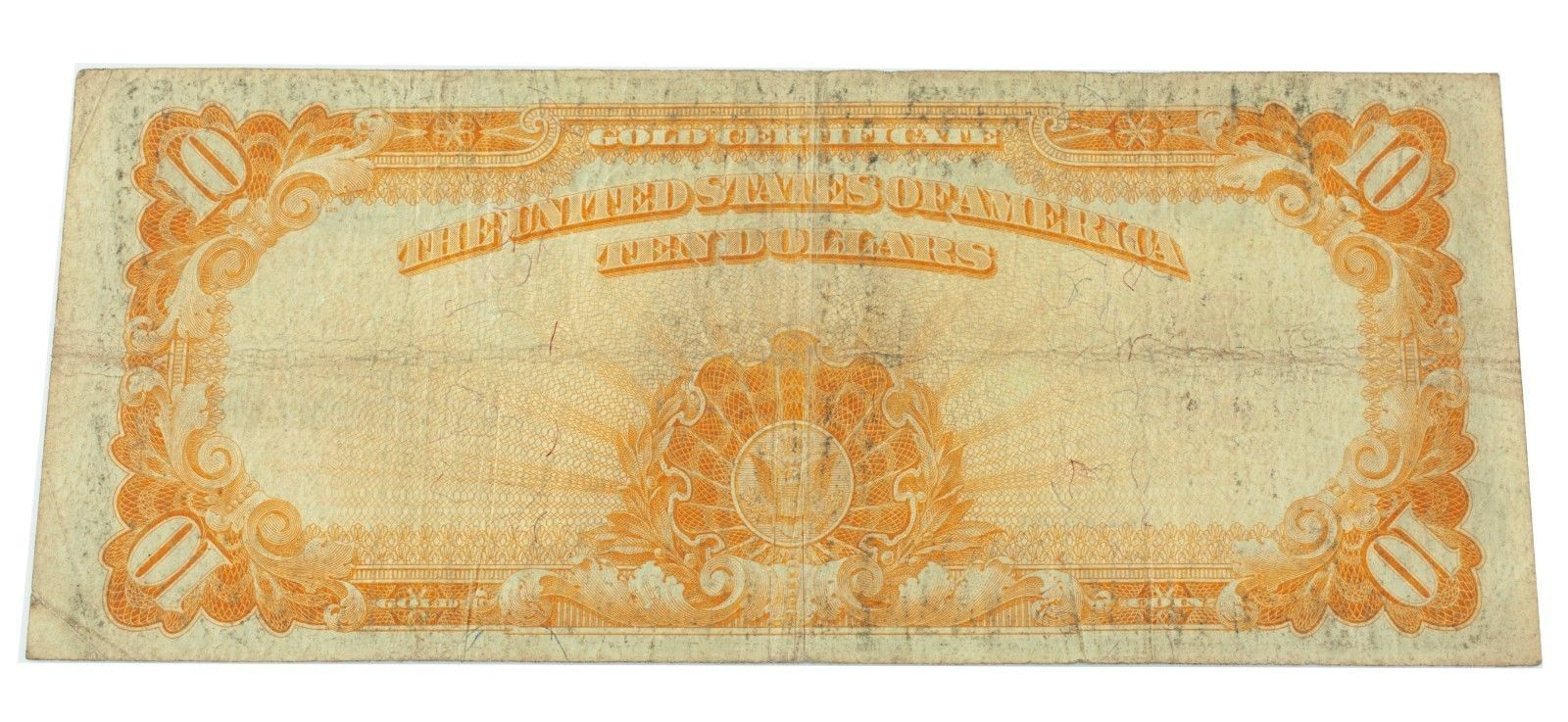 1922 $10 Us Gold Note in Fine Condition Fr. 1173