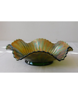 Northwood Green Base Glass Iridescent Carnival Smooth Rays Ruffled 7 1/2 In Bowl - $14.99