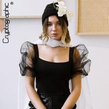 Cryptographic Square Collar Puff Sleeve Black Sexy Bodycon Bodysuit 2019 Fashion - $36.99