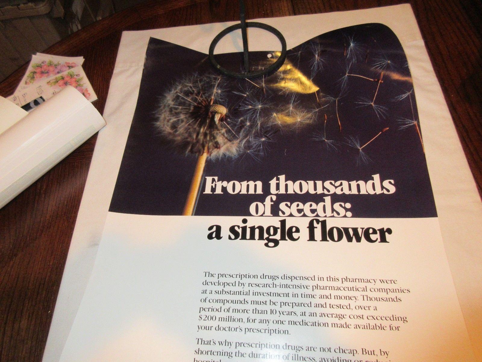 "Rx , Pharmacy . Poster , 16"" X 22"" , Prescription Drug Costs , 1980s , Rare image 4"
