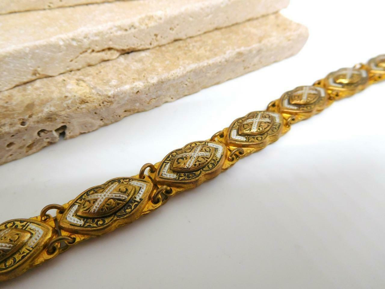 Vintage Marked Spain Gold Tone Black White Damascene Link Bracelet AA20