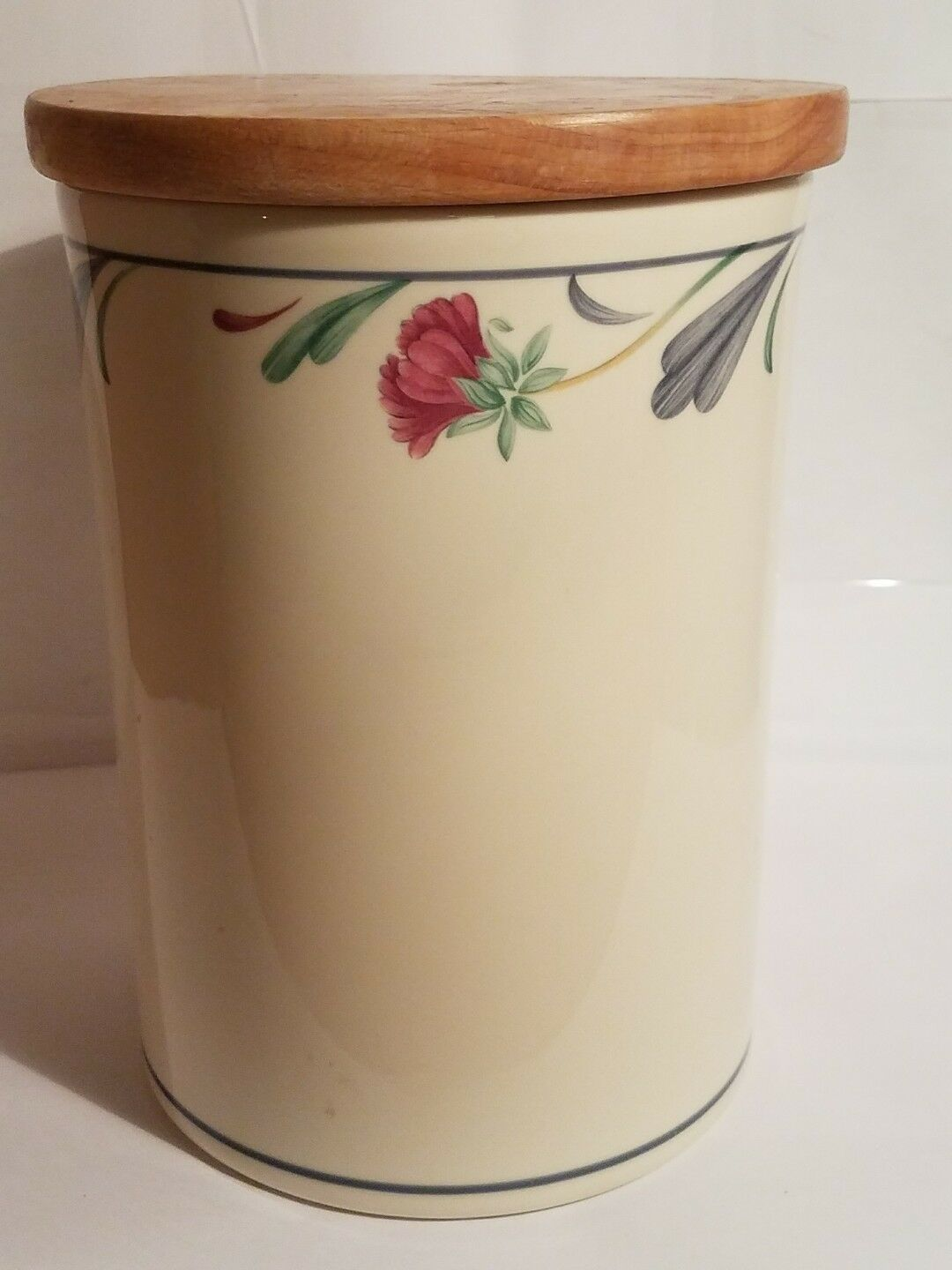 "Lenox Chinastone Poppies on Blue 7 1/2"" Canister - Made in the USA"