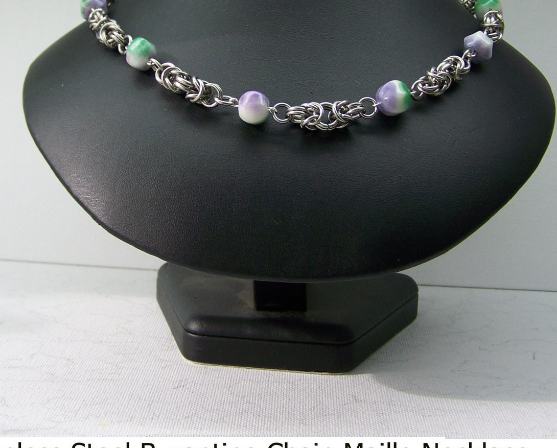 Jewelrybytwogems (C50) Stainless Steel Chainmaille in Butterfly w Jade