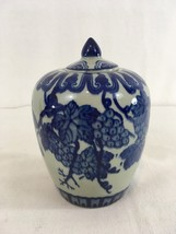 Qian Long Qing Dynasty Grapes 2 Piece Covered Lid Porcelain Vase - $99.00