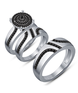 Black Diamond Womens Engagement Ring & His Her Band Trio Ring Set in 925... - £94.34 GBP