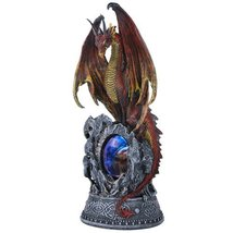 Guardian Dragon Protecting Castle with Illuminate Skull Collectible Figu... - £26.33 GBP