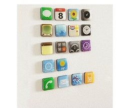 6 Pieces/set Mobile app Type Fridge Whiteboard Refrigerator Magnet Memo ... - $5.52