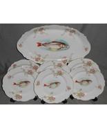 7 pc Set ANTIQUE O & E.G. ROYAL - AUSTRIA Fish Set - PLATTER and SIX PLATES - $188.09