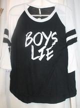 NEW WOMENS JUNIORS PLUS SIZE 3X BOYS LIE BLACK  & WHITE BASEBALL SHIRT - £12.57 GBP