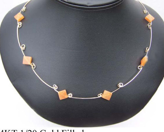 14 KT GF Necklace w Peach Adventurine (WN6)