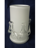 Hand Blown Pillar Candle Holder - White with Clear Applied Ribbon or Swa... - $6.00