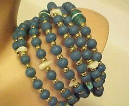 Beaded Turquoise Blue Wrap Bracelet Glass & Plastic Beads - $10.40