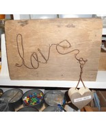 Old rustic reclaimed wood sign  LOVE rusty wire - $19.95