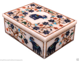 """6""""x4""""x2"""" Marble Jewelry Box Lapis Inlay Elephant Art Decor Narquetry Home Gifts - $262.07"""