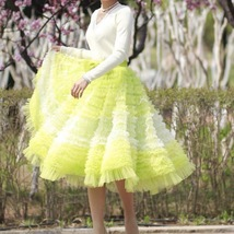Yellow Midi Layered Tulle Skirt High Waisted Princess Tulle Skirt Holiday Outfit image 1