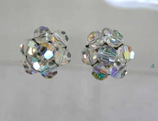 Primary image for Art Moderne 60s Aurora Borealis Cut Glass Crystal Earrings