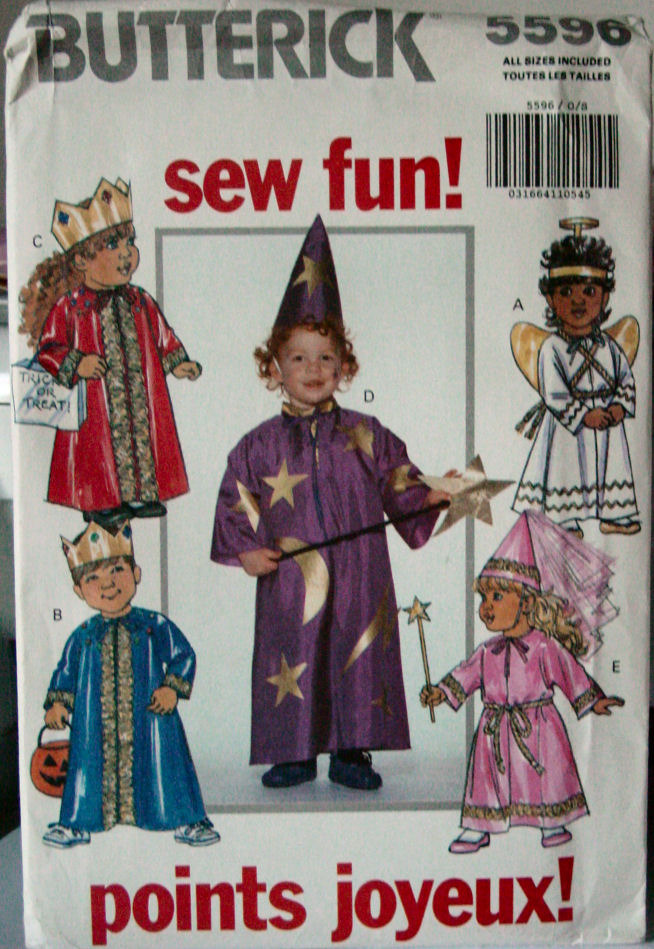 Primary image for Pattern 5596 Small Child's Costumes Wizard, Princess, Angel, King & Queen sz 1-4