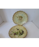 """VINTAGE PAIR OF BAMBOO SHELL TRAYS VIOLETS AND ANGEL 9.25"""" WIDE WORN OLDIES - $9.95"""