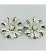 Sarah Coventry Summer Magic 1966 Enamel Flower Clip On Earrings White Si... - $24.70