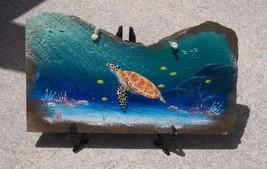 Sea Turtle hand painted Slate Painting nautical decor sea life original ... - £37.81 GBP