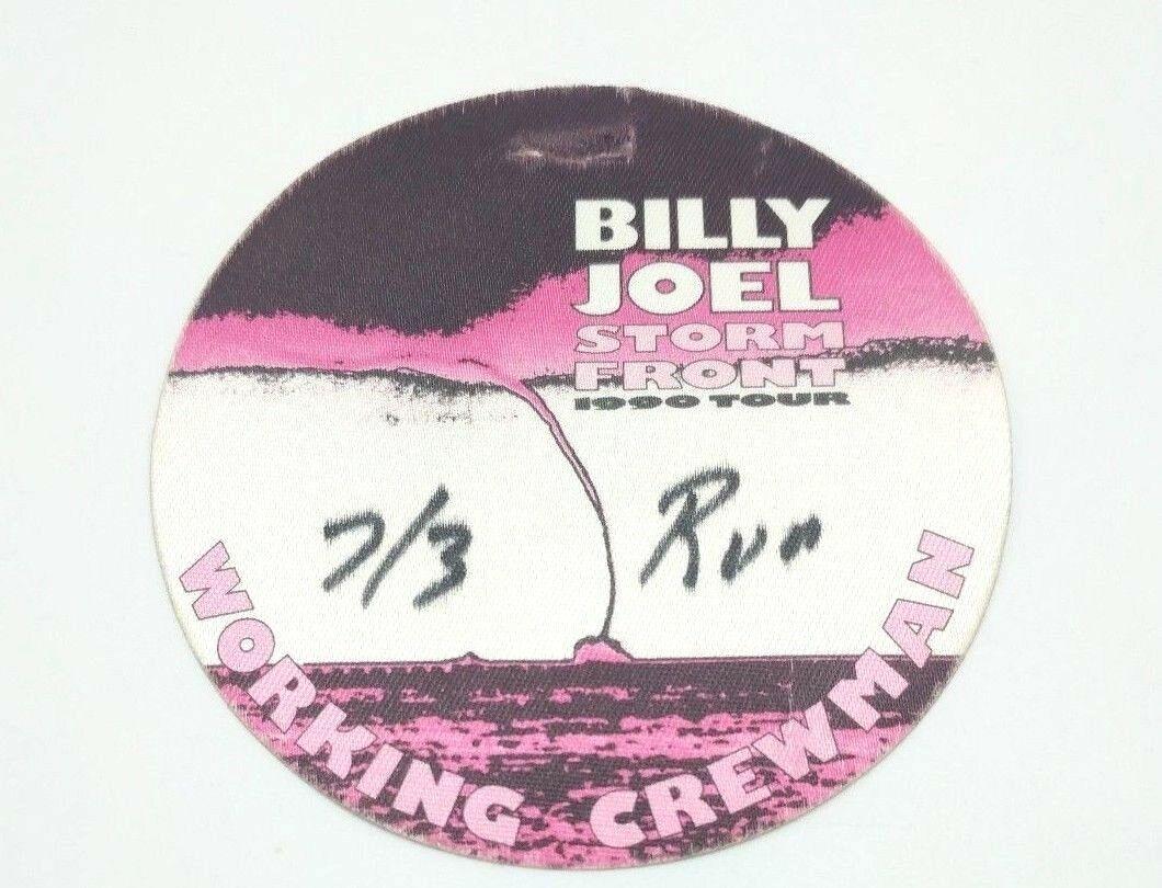 Billy Joel Storm Front 1990 Tour Working Crew Badge Canvas Sticker Rare