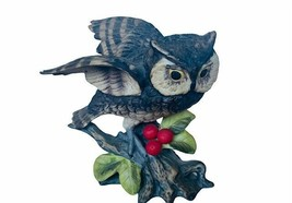 Owl Figurine Josef originals vtg sculpture statue berries barn great hor... - $39.55