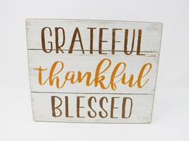 Ashland Wooden Box Sign - Grateful Thankful Blessed - New - $14.99