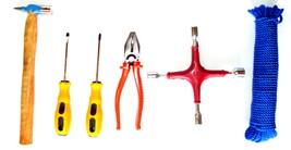Hammer Screw Driver Plier Spanner 4 Wheel Nylon Rope Home Tools - FFV652... - $64.02