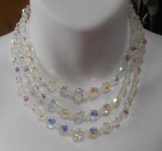 Vintage 3-Strand Aurora Borealis Crystal Collar Necklace - $54.45