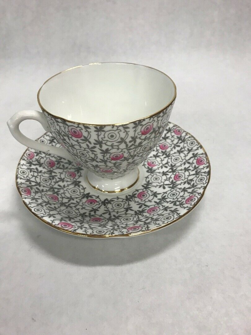 Tea coffee cup Porcelain England  English Castle Staffordshire pink grey - $16.82