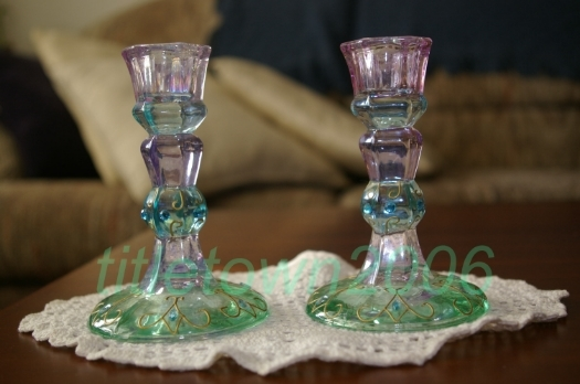 PartyLite Mardi Gras Taper Holder Pair Party Lite