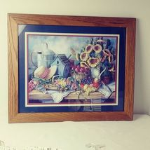 Home Interiors Picture Sunflowers Hat Birdhouse Fruit Sold Wood Frame  image 6
