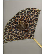"Handdesigned ""hot Flash"" Leopard Art Fan With Feathers And Glass - $12.88"