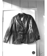 Black Leather Woman's Blazer  11/12  TO WRITE YOUR POETRY OR FAV. QUOTE... - $45.00