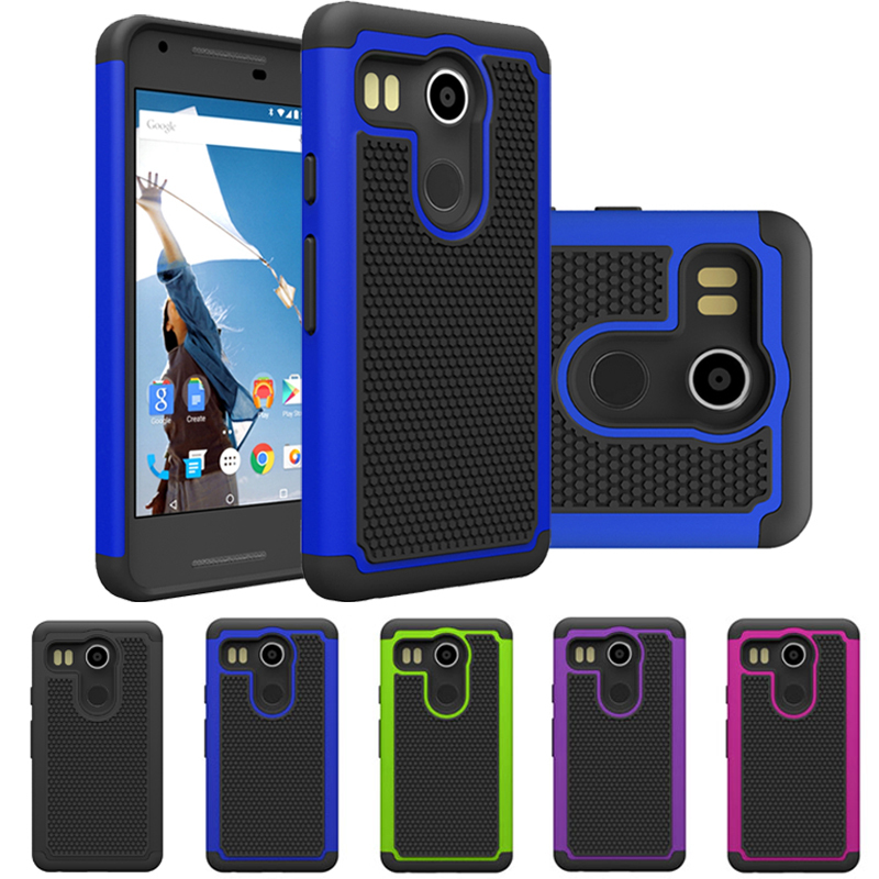 Absorbing Dual Layer Hybrid Protective Armor Case For LG Nexus 5X - Dark blue