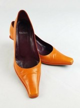 Vera Wang women 7 kitten heels pointy square toes leather Italy orange - $108.90