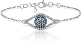 Ice Gems Sterling Silver Simulated Turquoise and Cubic Zirconia Evil Eye... - $51.97