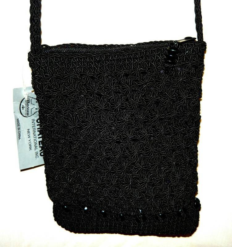Black beaded Silk Cord Evening Bag