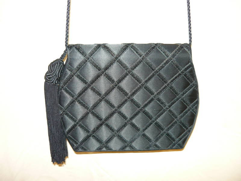 Carla March Black Quilted Satin w/velvet Evening Bag