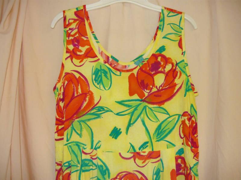 Yellow Floral Print Long Vintage Dress-M